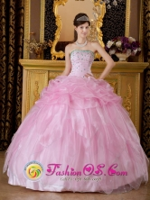 2013 Ansermanuevo Colombia Quinceanera Baby Pink Dress Sweet 16 Dress With gorgeous Strapless Organza Beaded Decorate  Style QDZY349FOR