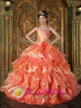 2013 Gamarra Colombia Beading and Ruffles Cheap Orange Wholesale Quinceanera Dress  Strapless Ball Gown Style QDZY292FOR