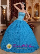2013  Hatonuevo Colombia Gorgeous Blue Sweet Wholesale Quinceanera Dress Fabric With Rolling Flowers Ball Gown Strapless Beading Ball Gown Style QDZY576FOR