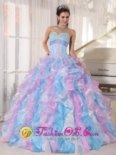 2013 Puente Nacional Colombia Spring Multi-color Sweetheart Neckline Wholesale Quinceanera Dress With Ruffled and Appliques Style PDZY334FOR
