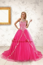 2015 Beautiful Hot Pink Quinceanera Dresses with Beading and Appliques XFNAO5935-2FOR