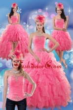 2015 Beautiful Rose Pink Strapless Dresses for Quince with Ruffles and Beading XFNAO724TZA2FOR
