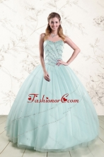 2015 Exclusive Apple Green Quinceanera Dresses with Reinstones XFNAOA02FOR