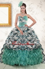 2015 Exquisite Turquoise Sweep Train Quinceanera Dresses with Beading and Picks Ups XFNAO789FOR