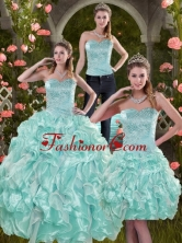 2015 Luxurious Sophisticated Aqual Blue Quinceanera Dresses with Beading and Ruffles XFNAO5825TZA1FOR