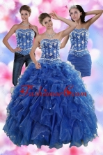 2015 Luxurious Sophisticated Ruffles and Beading Quince Dresses in Royal Blue XFNAO881TZA1FOR