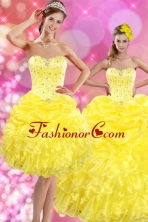 2015 Luxurious Sweetheart Yellow Sweet 15 Dresses with Beading and Ruffles XFNAOA03TZFOR