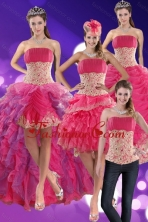 2015 Modest Beading and Lace Quinceanera Dresses in Hot Pink XFNAO501TZA2FOR