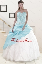 2015 Pretty Blue and White Quinceanera Dresses with Beading and Pick Ups XFNAO5918FOR