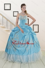 2015 Pretty One Shoulder Appliques and Beaded Quinceanera Dresses in Aqua Blue XFNAO767FOR