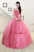 2015 Pretty Strapless Quinceanera Dresses in Rose Pink XFNAO825AFOR