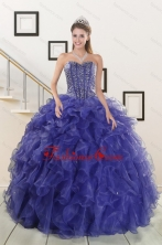 2015 Pretty Sweetheart Purple Quinceanera Dresses with Beading and Ruffles XFNAO7751FOR
