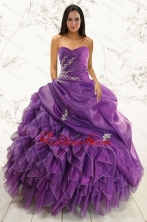 2015 Romantic Purple Ball Gown Quinceanera Dress with Appliques and Ruffles XFNAO5845FOR