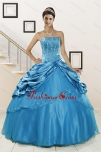 2015 Spring Wonderful Strapless Appliques Quinceanera Dresses in Teal XFNAO164FOR