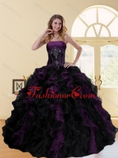 2015 Wonderful Multi Color Strapless Quinceanera Dresses with Ruffles and Beading ZYLJ08TZFXFOR
