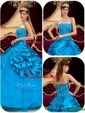 2016 Perfect Teal Quinceanera Gowns with Appliques and Beading QDZY164DFOR