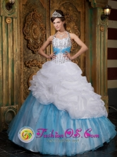 A-line Halter Lovely Beading and Pick-ups Organza White and Baby Blue For 2013 Dabeiba Colombia Quinceanera  Style QDZY085FOR