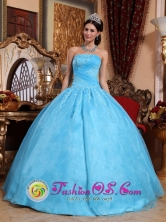 Beaded Appliques Aqua Blue 2013 Puerto Rico Colombia Wholesale Quinceanera Dress Strapless Organza Ball Gown Style QDZY046FOR