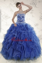 Beautiful Beading and Ruffles 2015 Quinceanera Dresses in Royal Blue XFNAO881FOR