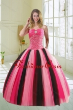 Beautiful Multi Color Sweetheart Beading Quince Dress for 2015 XFNAO5884TZFXFOR