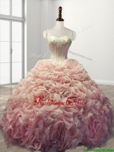 Beautiful Rolling Flowers Baby Pink Sweet 16 Dress with Beading SWQD110FOR