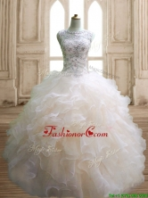 Best Scoop Beading and Ruffles Sweet 16 Dress in Champagne SWQD141-2FOR