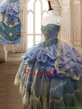 Classical Beaded and Pick Ups Big Puffy Quinceanera Dress in Blue SWQD118FOR