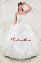 Classical Beading and Ruffles 2015 Quinceanera Dresses in White XFNAO5897FOR
