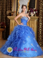 Classical Strapless Blue Sweetheart Organza Quinceanera Dress With Ruffles Decorate In Luruaco Colombia for Formal Evening Style QDZY137FOR