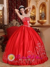 Customize Red Embroidery 2013 San Miguel Colombia Gorgeous Quinceanera Dress With Strapless Satin for Formal Evening Style QDZY534FOR