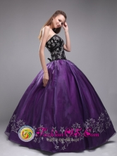 Dabeiba Colombia Star Embroidery Orangza Stylish Eggplant Purple Sweetheart Quinceanera Dresses  Style ZYLJ24FOR