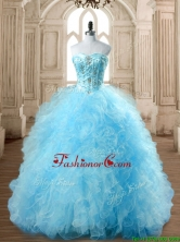 Discount Aqua Blue Quinceanera Dress with Beading and Ruffles SWQD168-7FOR