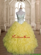 Discount Beaded and Ruffled Organza Quinceanera Dress in Yellow SWQD149-6FOR