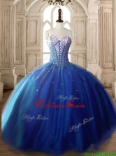 Discount Royal Blue Tulle Sweet 16 Dress with Beading SWQD171-1FOR