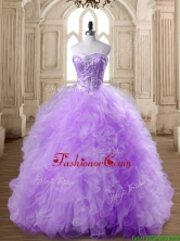 Elegant Beaded and Ruffled Lavender Quinceanera Dress in Tulle SWQD168-3FOR