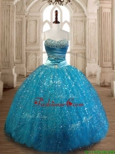 Elegant Beaded and Sequined Quinceanera Dress in Teal SWQD172FOR