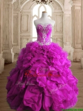 Elegant Fuchsia Organza Quinceanera Gown with Beading and Ruffles SWQD145-3FOR