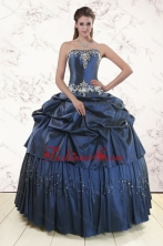 Embroidery and Pick Ups Cheap Quinceanera Dress in Navy Blue XFNAO104FOR