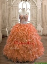 Exquisite Rust Red Organza Quinceanera Dress with Beading and Ruffles SWQD156-2FOR