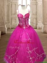Exquisite Spaghetti Straps Beaded and Applique Quinceanera Dress in Hot Pink SWQD161FOR
