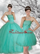 Fashionable Apple Green Strapless Quince Dress with Appliques and Beading for 2015 QDZY218TZFOR