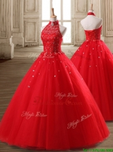 Fashionable Halter Top Beaded Tulle Quinceanera Dress in Red SWQD124FOR