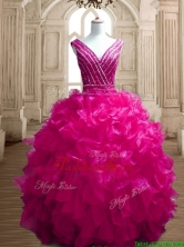 Gorgeous Deep V Neckline Beading and Ruffles Quinceanera Dress in Fuchsia SWQD151-1FOR