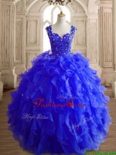 Gorgeous Royal Blue Straps Quinceanera Dress with Beading and Ruffles SWQD152-4FOR