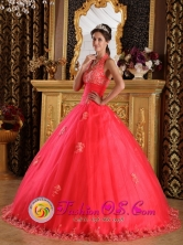 Gorgeous Tulle Ball Gown Coral Red Halter  2013 Salamina Colombia Quinceanera Gowns With  Appliques Style QDZY141FOR
