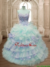 Hot Sale Ruffled Layers and Applique Quinceanera Dress with Big Puffy SWQD163-4FOR