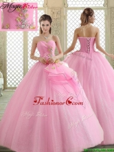 Hot Sale Sweetheart Rose Pink Quinceanera Dresses with Beading  YCQD084FOR