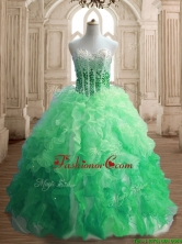 Inexpensive Beaded and Ruffled Quinceanera Dress in Gradient Color SWQD150-3FOR