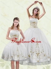 Inexpensive Embroidery White and Gold Quinceanera Dress for 2015 XFNAO5789TZFOR