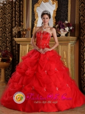 La Cruz Colombia Customize Red Pick-ups and Appliques Strapless Wholesale Quinceanera Dress  With Tulle Skirt For Sweet 16 Style QDZY139FOR